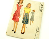 Vintage 1940s Girls Size 12 Jumper or Skirt and Blouse McCalls Sewing Pattern 6292 MISSING Back Neck Facing / bust 30 waist 25