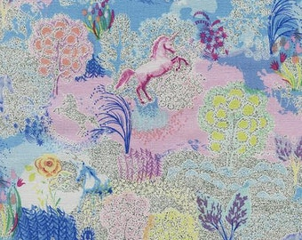 Novelty Fabric by Timeless Treasures Multicolored Unicorns with Glitter and Sparkles