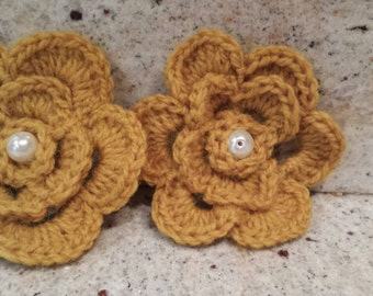 Crochet hair clips, Crochet Flowers, Girls Accessories, Christmas Stocking Stuffers, Crochet Newborn Photography Prop