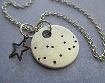 virgo constellation - hand stamped zodiac necklace with bronze star charm