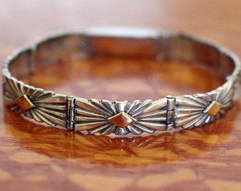 Navajo Silver Bracelet Pat Bedoni 14K