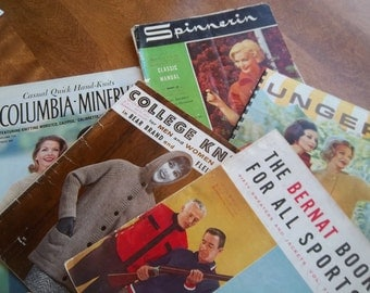 Vintage - Knitting Books - Spinnerin - Columbia Minerva - College Knits - Unger Vol. 1X - Bernat  Vol. 71- Five Soft Cover Books