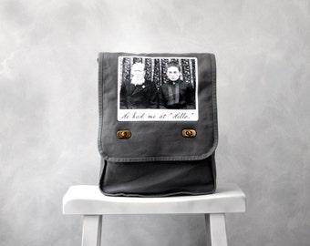 Field Bag / Messenger Bag - Gray Canvas Bag -  He Had Me at Hello - Vintage Photo