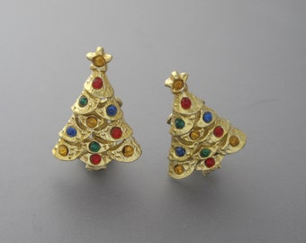 Christmas Tree Earrings, Christmas Earrings, Christmas Jewelry, Gold Earrings, Holiday Jewelry