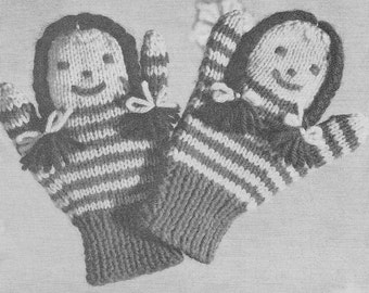 Vintage Puppet Mittens PDF Pattern Instant Download