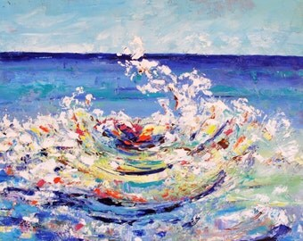 Original Oil On Gallery Wrap Canvas the ROUND WAVE PAINTING
