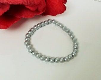 Silver Mist 6mm Glass Pearl Bracelet for Bridesmaid, Flower Girl or Prom