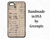 library card phone case, iPhone 4 4s 5 5s 5C 6 or Galaxy S5, retro due date stamp, book lover, old school librarian check out , teacher gift
