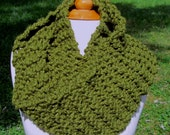 Plush Infinity Scarf Cowl in Olive Green