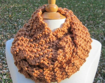 Plush Infinity Scarf Cowl in Coppery Butterscotch
