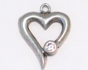 cz / crystal heart love theme 925 sterling silver bracelet charm or pendant