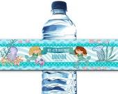 Set of 10 Waterproof Peel & Stick Water Bottle Labels, Mermaids Theme, Birthday, Under the Sea Party, Girls Party