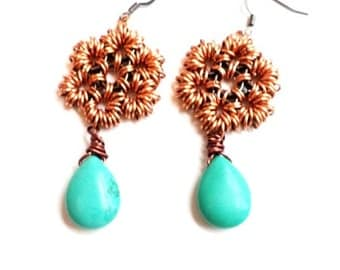 Chainmaille gunmetal copper and turquoise earrings-chainmaille earrings-chainmaille-copper and turquoise-gunmetal and copper-boho style