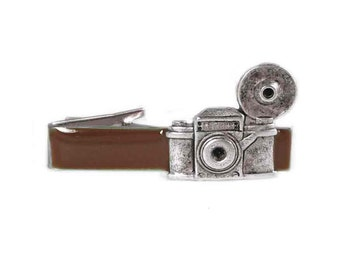Vintage Camera Tie Clip Inlaid in Hand Painted Enamel Brown Flash Photography Tie Bar Accent with Custom Color Options