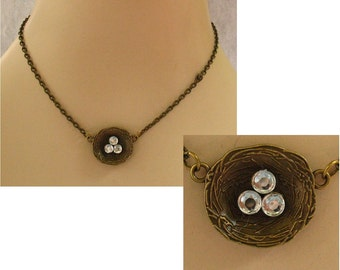 Burnished Gold Bird's Nest Necklace Jewelry Handmade NEW Chain Brass Strand Accessories Fashion