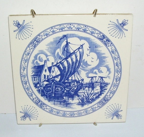 Mettlach Germany  City new picture : Mettlach Germany Villeroy & Boch Delft Blue Hanging Pottery Tile, Made ...