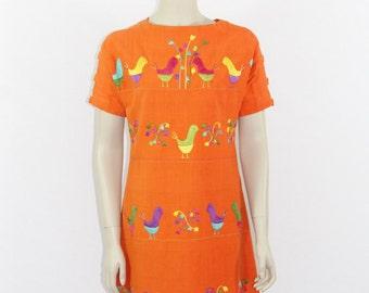 1960s Vintage Dress - Mexican Orange Cotton Shift Dress -  36 / 33 / 38