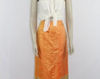1960s Vintage Maxi Skirt  - Warm Fall Fashion Orange Thai Silk Long Skirt - 28 / 38