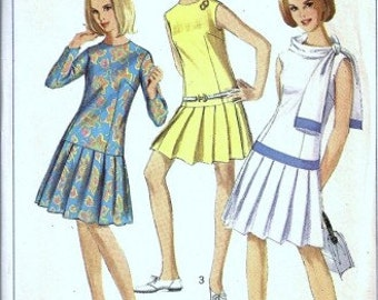 Vintage 1960s Plated Mini Scooter Dress Simplicity Pattern 6540