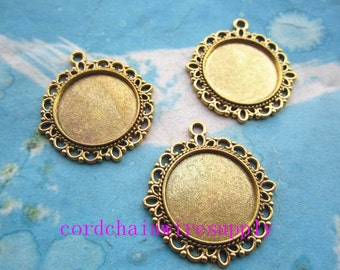 10pcs 30mm antiqued gold round picture/photo frame/bezel trays(20mm) charms findings