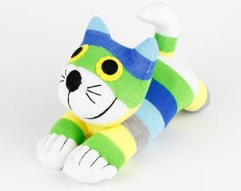 Boy Birthday Gift Handmade Sock Cheshire Cat Kitty Stuffed Animal Baby Toy