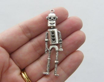 BULK 5 Robot pendants antique silver tone P207
