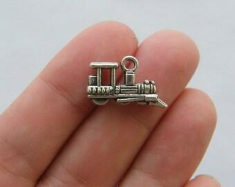 6 Train charms tibetan silver TT8