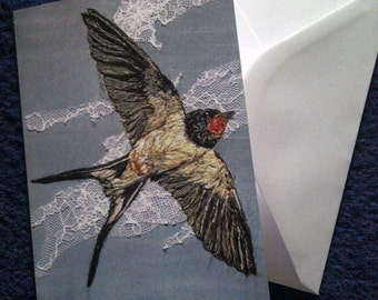 Swallow design blank greeting card