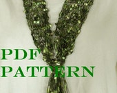 Pattern for Knit Necklace Scarf of Ladder Ribbon Yarn with Variations