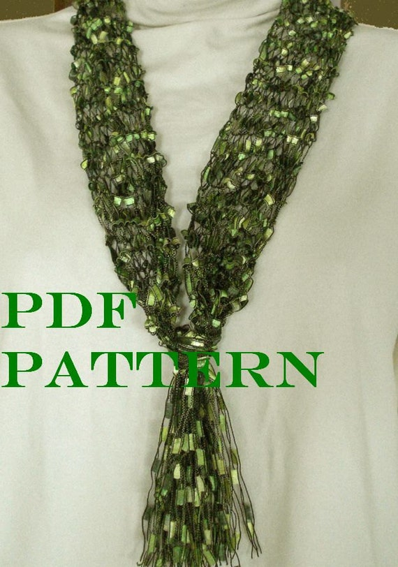 Knitting Pattern Ribbon Yarn Scarf : Pattern for Knit Necklace Scarf of Ladder Ribbon Yarn with