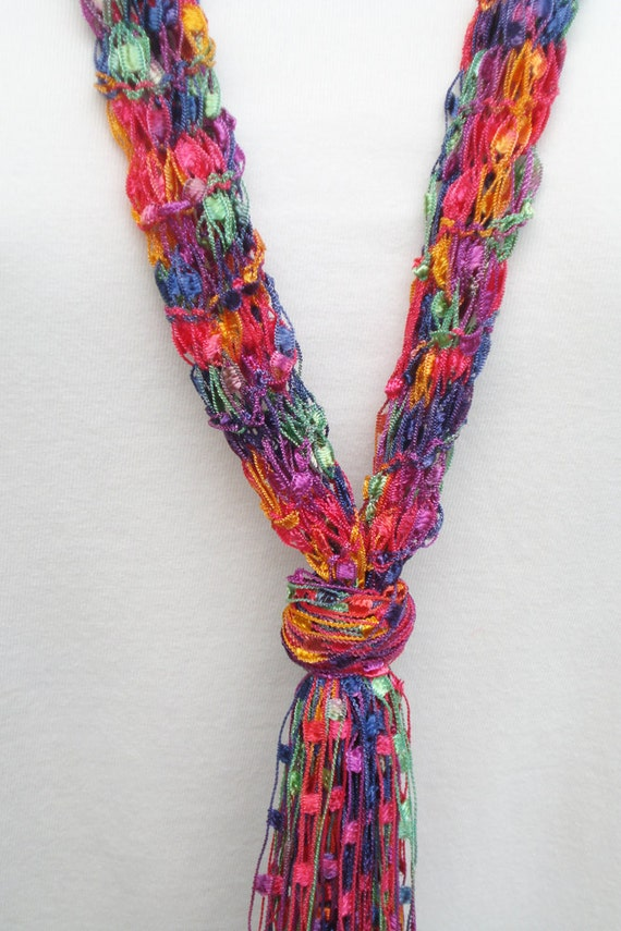 Pattern For Knit Necklace Scarf Of Ladder Ribbon Yarn With