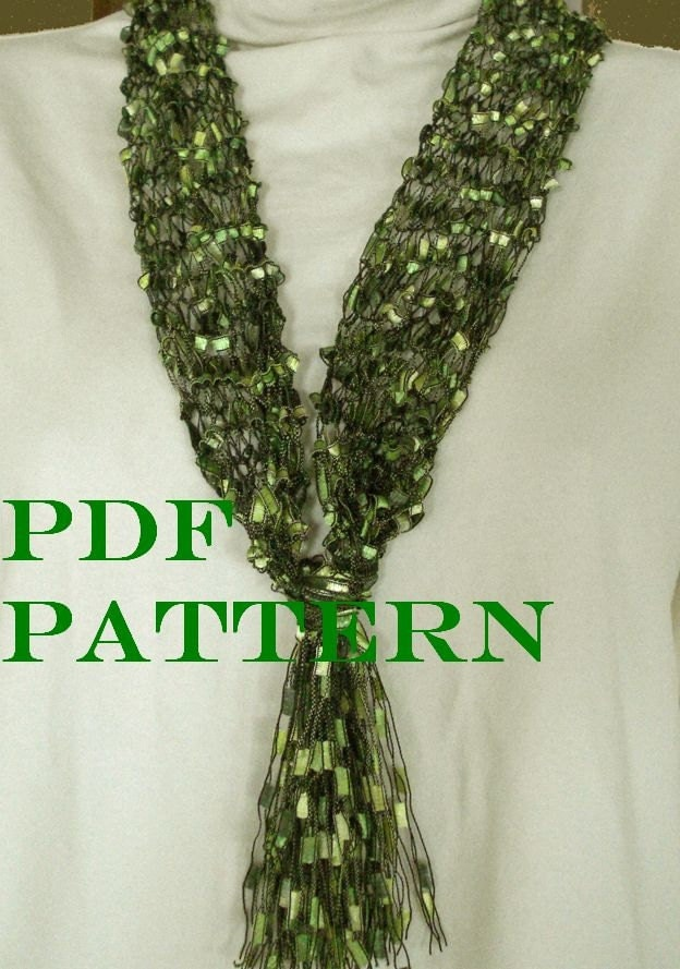 Knitting Pattern For Ladder Yarn Scarf : Pattern for Knit Necklace Scarf of Ladder Ribbon Yarn with
