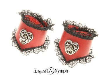 Red Leather Black Lace BDSM Bondage Celtic Heart Romantic Valentine's day Gift Bracelets -BDSM Fetish Celtic knot Bracelets DDlg Slave Cuffs
