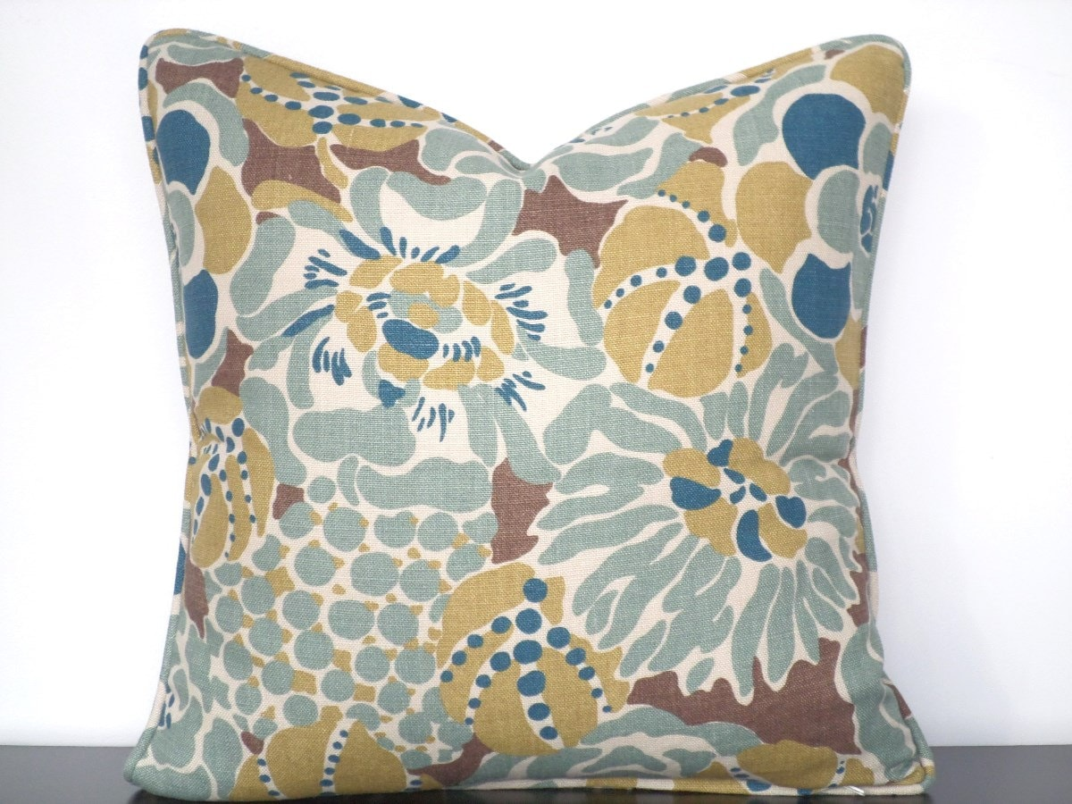 Teal And Brown Linen Pillow Cover 18x18 In Floral By