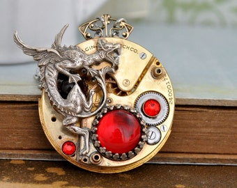 THE FIRE CHASER steampunk antique brass Elgin pocket watch movement with dragon and vintage ruby red glass cabs