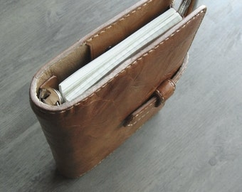 leather planner, vegetable tanned, leather binder, simple planner, natural plann er,  leather organizer, binder planner, handstitched