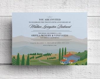 Vineyard Invitation, Winery Invitation, Vineyard Event, Winery Event, Company Party, Company Event, Napa Invitation, Wine Invitation