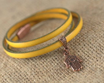 Triple Wrap Yellow leather bracelet, copper Hamsa charm, copper magnetic clasp, layering bracelet