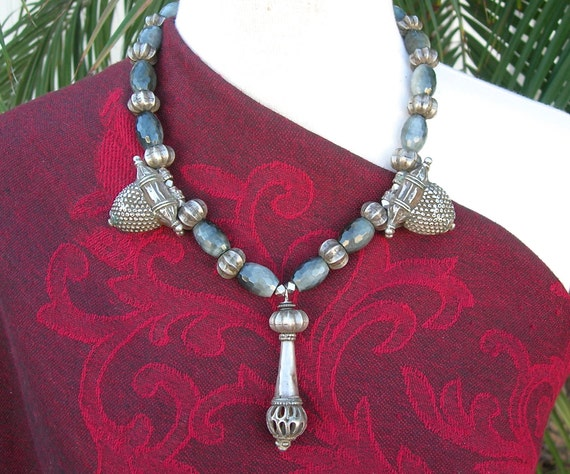 UNUSUAL Indian Necklace, Fabulous Antique Silver Beads from Rajasthan, Museum-Quality Investment Necklace by SandraDesigns