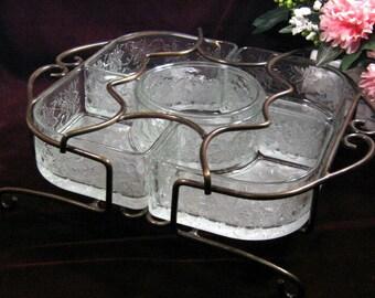 Vintage Princess House Crystal Fantasia Chip Dip with Metal Rack, 1960s Mid Century Elegant Glass Dinnerware, Vintage Kitchen Collectible