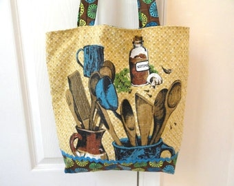 """Linen tote bag, lunch book shopping bag, vintage kitchen tea towel, market print, 14"""" tall, upcycled linen, handmade fabric bag, OOAK tote"""