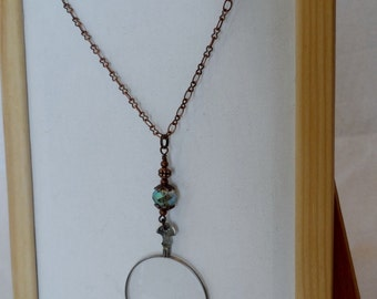 Beaded Chain Monocle Pendant