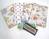 Traditions Fall Flowers Vintage Sheet Fat Quarter QUAD LOT
