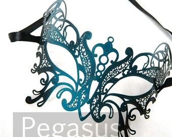 Black and Teal Butterfly Mask (1 Piece) Venetian Filigree Scroll work Metal Masquerade Mask - Laser Cut Mask of Light Metal