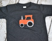 SALE Boys Tractor Shirt in Orange and Gray on a Vintage Gray Tee