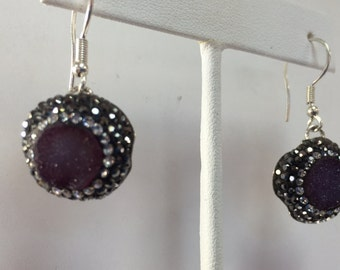Sterling Silver Druzy Dangles encrusted with Marcasite
