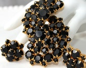 Vintage Black Rhinestone Brooch and Earrings Set