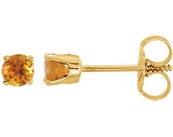 14kt Gold Youth or Teen Birthstone Earrings November Birthstone-AAA Grade Citrine Studs