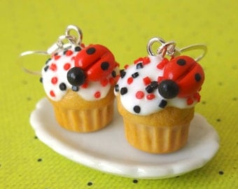 Ladybug cupcake earrings
