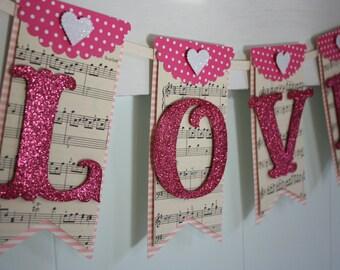 Love Banner - Valentines Day Banner - Valentines Decor - Valentine Photo Prop - Vintage Style Valentine - Wedding Decor - Wedding Photo Prop